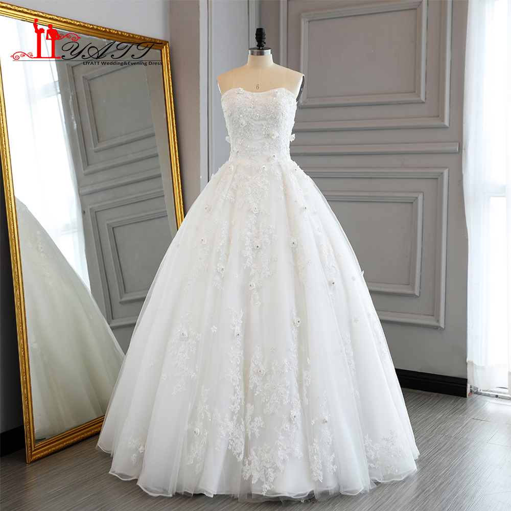 2017 princess wedding dresses ball gown sweetheart 3d for Floral wedding dresses 2017
