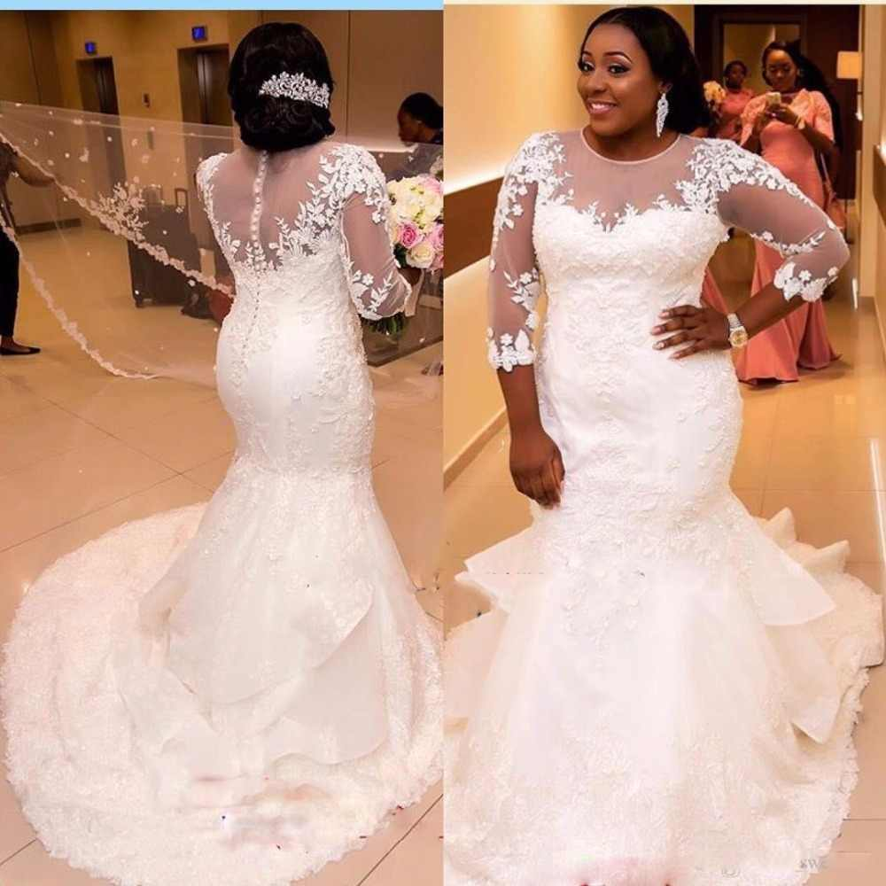 2017 African Plus Size Mermaid Wedding Dress Lace Appliques Long Sleeves  Beaded Wedding Gowns Layered Arabic f5c00043c66d
