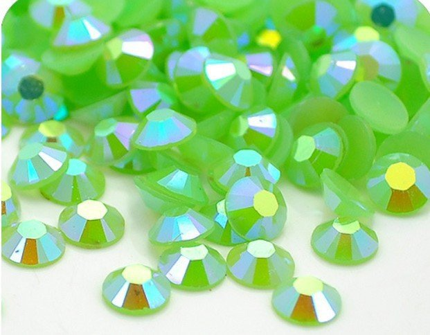 4mm Jelly Green AB Color,SS16 crystal Resin rhinestones flatback,Free Shipping 50,000pcs/bag