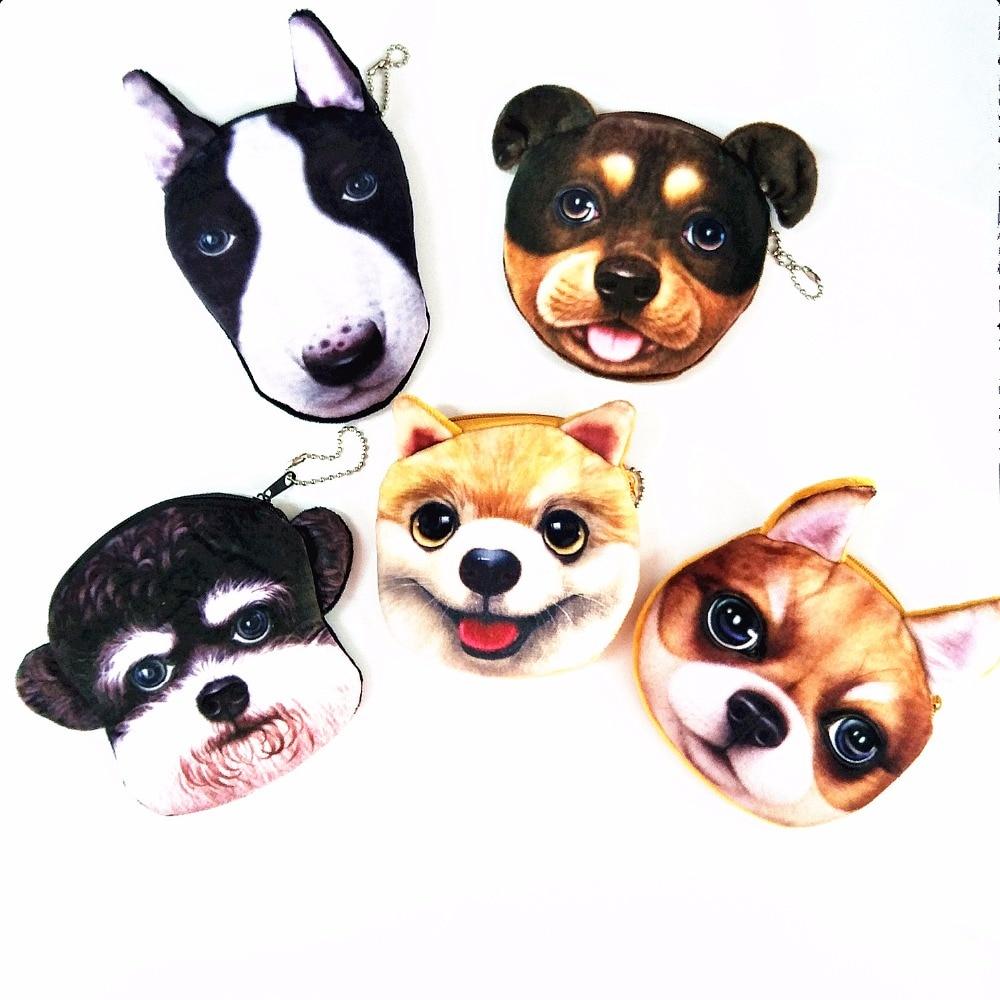 M200 2017 New Cute Cartoon Women Purses Creative 3D Dog 5 Styles Plush Coin Purse Wallet Card Bag Girl Student Gift Wholesale