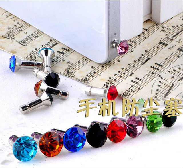 15PCS Mixed colours crystal earphone dustproof plug stopper #22759 FREE SHIPPING