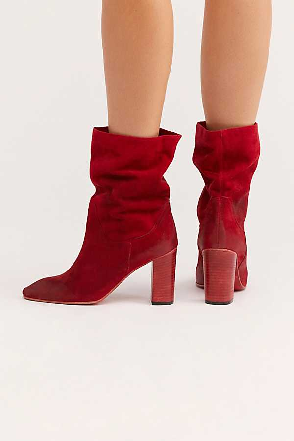 Pleated Western Boots Shoes Studded Ankle High Suede Leather Boots Pointed Toe Shoes Woman High Quality Autumn Female Boots RedPleated Western Boots Shoes Studded Ankle High Suede Leather Boots Pointed Toe Shoes Woman High Quality Autumn Female Boots Red