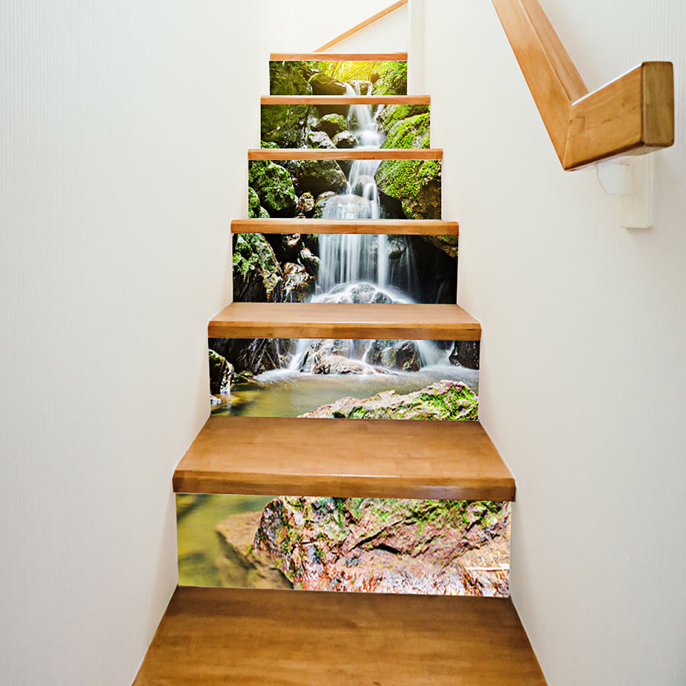Hot Sale Wall Decals Stair Wall Sticker 3D Waterfall Stone