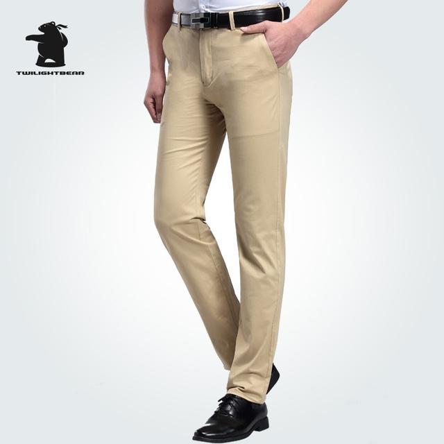 Nova Calça Casual homens Verão Designer de Moda Plus Size Cetim Elástico Algodão Business Casual Calças Retas Dos Homens Puxar Homme C3E4B