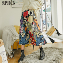 SuperAen Pleated Skirt Female 2019 Spring Europe Casual Elastic Waist Korean Style