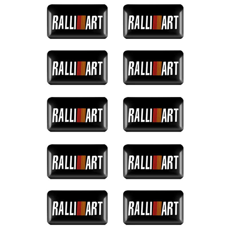 10Pcs 3D Car Styling Ralliart Aluminum Emblem Sticker For Mitsubishi Asx Lancer Pajero Outlander L200 Delica Eclipse Galant