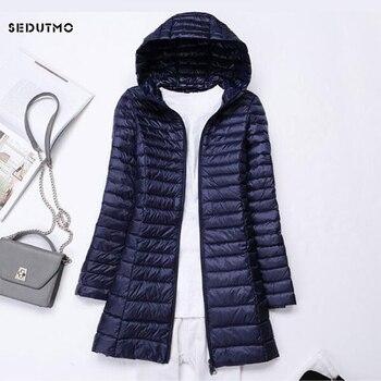 SEDUTMO Winter Long Ultra Light Duck Down Jackets Women  Down Coat Spring Puffer Jacket Slim Hooded Parkas ED230 1
