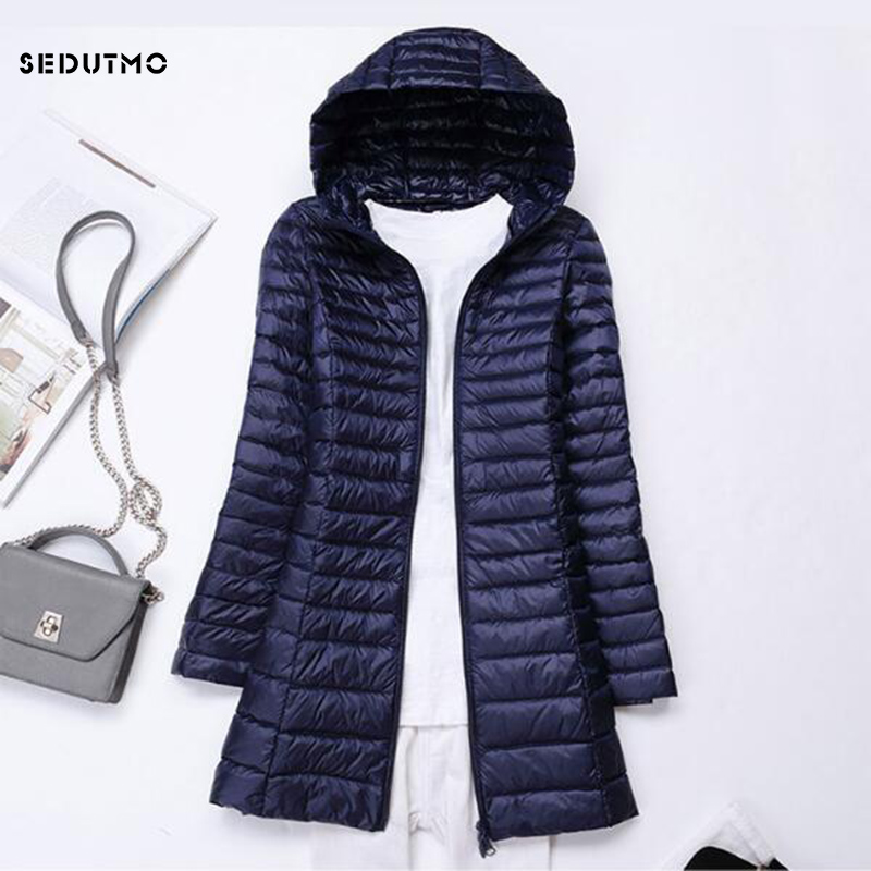 SEDUTMO Winter Long Ultra Light Duck Down Jackets Women Plus Size 3XL Down Coat Spring Puffer Jacket Slim Hooded Parkas ED230