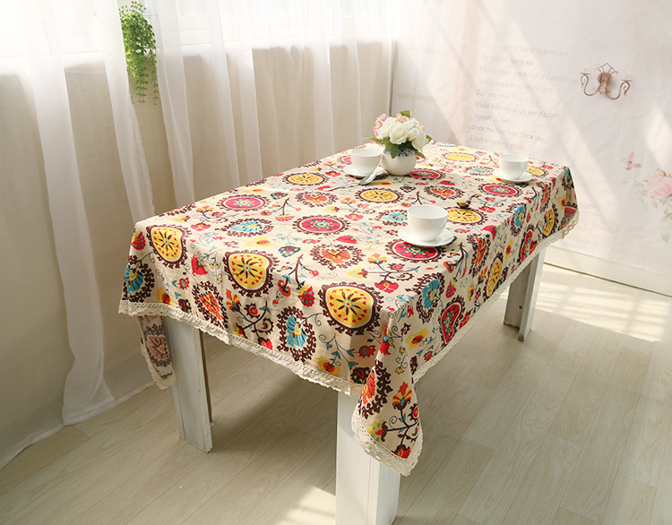 National wind explosion models cotton linen tablecloths Sun flower table cloth tablecloth Table Covers for Wedding Party Home 6