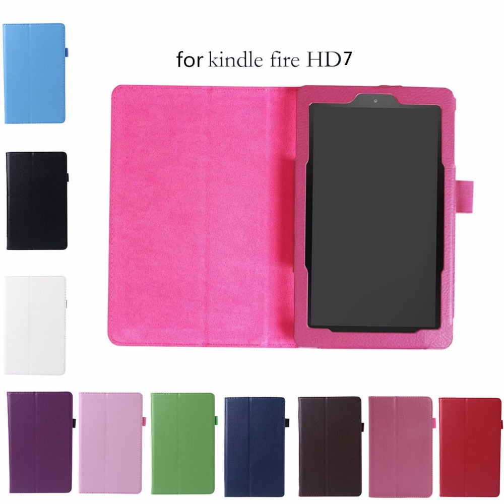 New Multicolor Litchi Grain Faux Leather Flip Stand Case Cover For Amazon Kindle Fire HD 7 2017 Tablet PC High Quality C26 for amazon kindle fire hd 8 hd8 2016 8 0 inch tablet shockproof case for amazon fire hd8 2016 kids baby safe back cover fundas