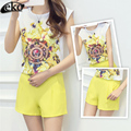 New 2016 Fashion Suit For Women Summer 2 Piece Clothing Set Casual Printed Chiffon Tops And Shorts 2 Piece Set For Women Sets