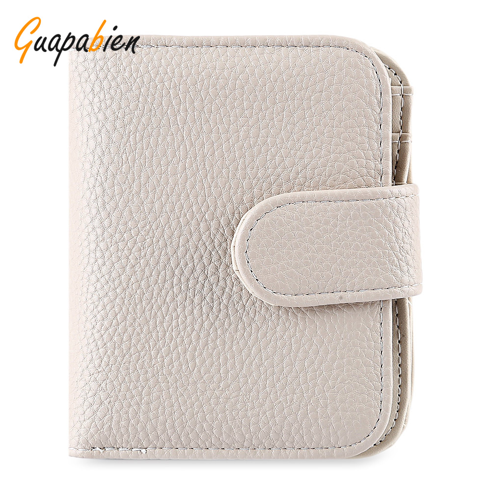 Guapabien Women Lady Leather Wallet Mini Zipper Hasp Short Purse Coin Purse Money Bag Small Clutch Credit Card Holder Wallet fashion women coin purses dots design mini girl wallet triple zipper clutch bag card case small lady bags phone pouch purse new