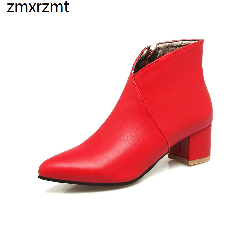 2019 women 4.5cm med heel women boots sexy ankle pointed toe women shoes spring autumn party shoes it`s black blue and red