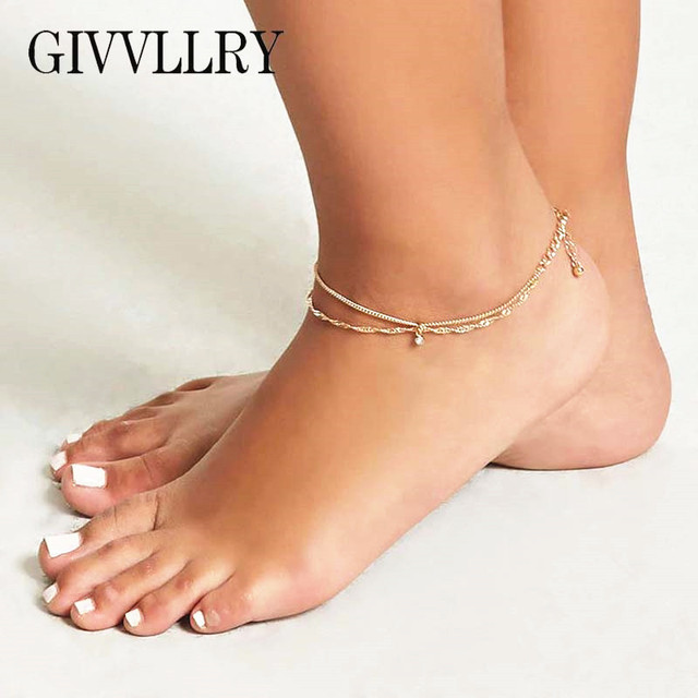 GIVVLLRY Minimalist Ankle Bracelet Gold Silver Color Water Ripple