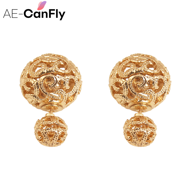 AE-CANFLY Hot Double Sided Earring Fashion Two Sides Silver Gold Stud Earrings for Women 2A3035