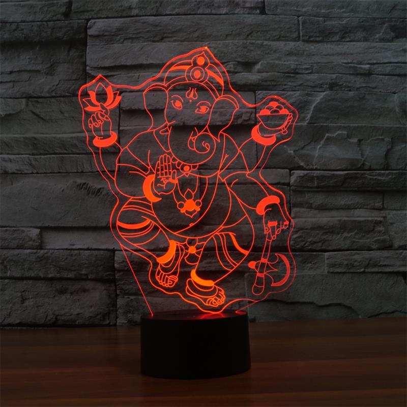 Ganesh LED RGB Touch Table Lamp for Christmas Atmosphere 3D Night Light Lampara Touch Lamp image