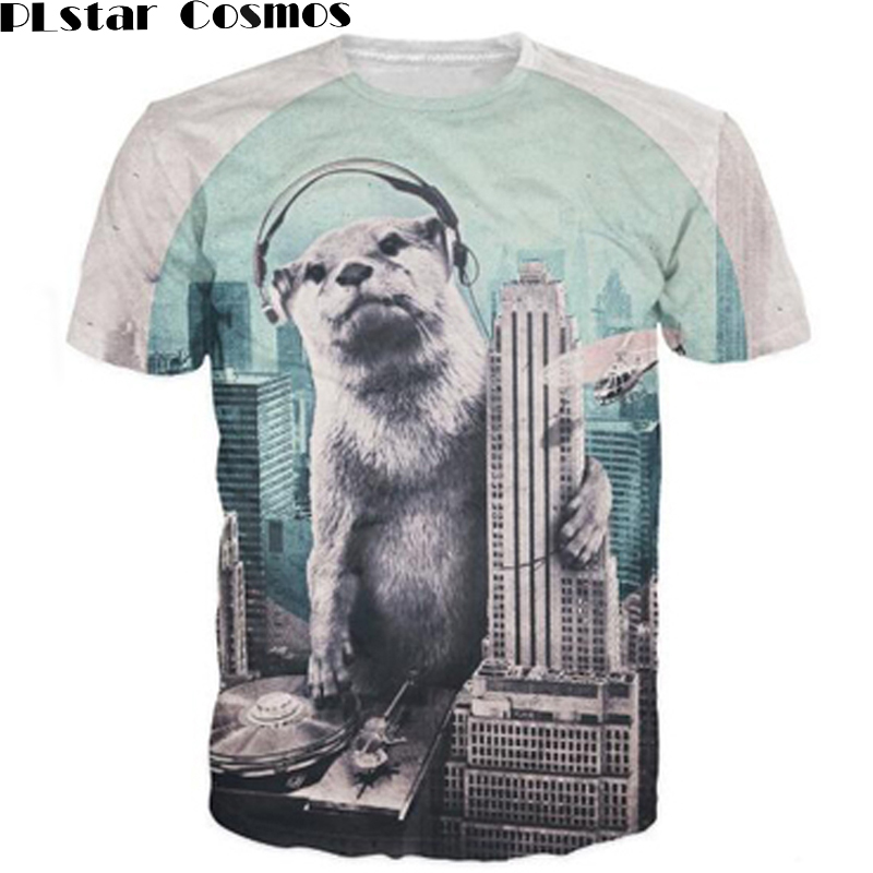 PLstar Cosmos DJ T-Shirt badass Otter taking over the city as personal DJ Booth 3d Print t shirt Casual tees Pullovers unisex