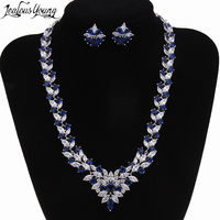 Top Cubic Zirconia Bridal Jewelry Sets Silver Color Flower Necklace Earrings Sets Wedding Accessories Bijoux Mariage AS024
