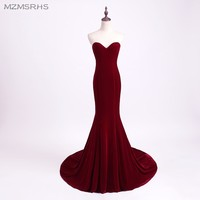 Unique Designer Burgundy Mermaid Prom Dresses 2015 Women Long Train Flattered Fitted Red Wine Velvet Elegant