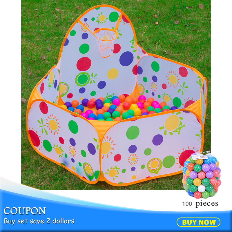 Polka Dot Toy Tents 100pcs Balls Kids Portable Playpen Tent Toy Outdoor Basketball Play Pool Folding Gas Filled House 985-Q42