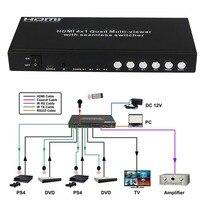 HDMI 4x1 Immagine Divisione Interruttore Multi viewer Switcher Senza Soluzione di continuità 1.3a Supporto Formato Audio Digitale LPCM AC3 DTS IR remoto RS232