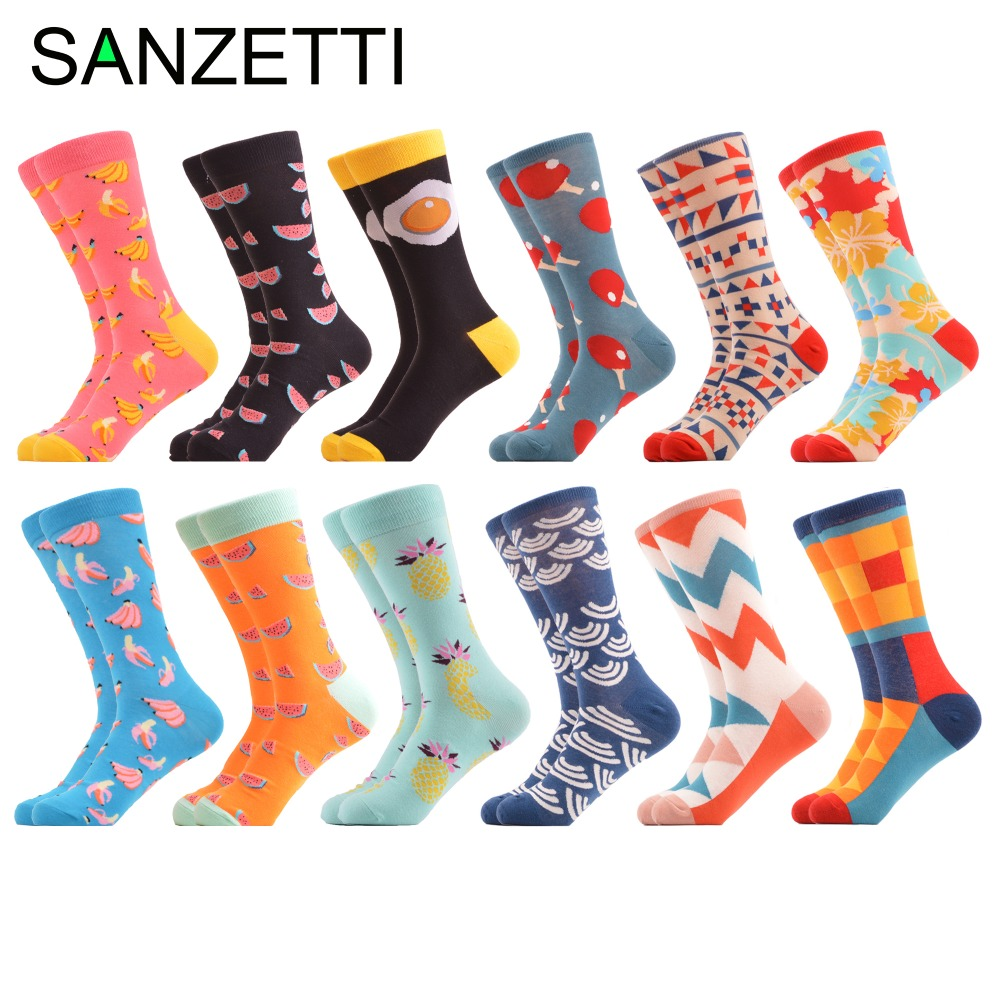 SANZETTI 12 pairs/lot Funny Mens Combed Cotton Crew Dress Socks Egg Fruit Pattern Novelty Brand Colorful Skateboard Socks