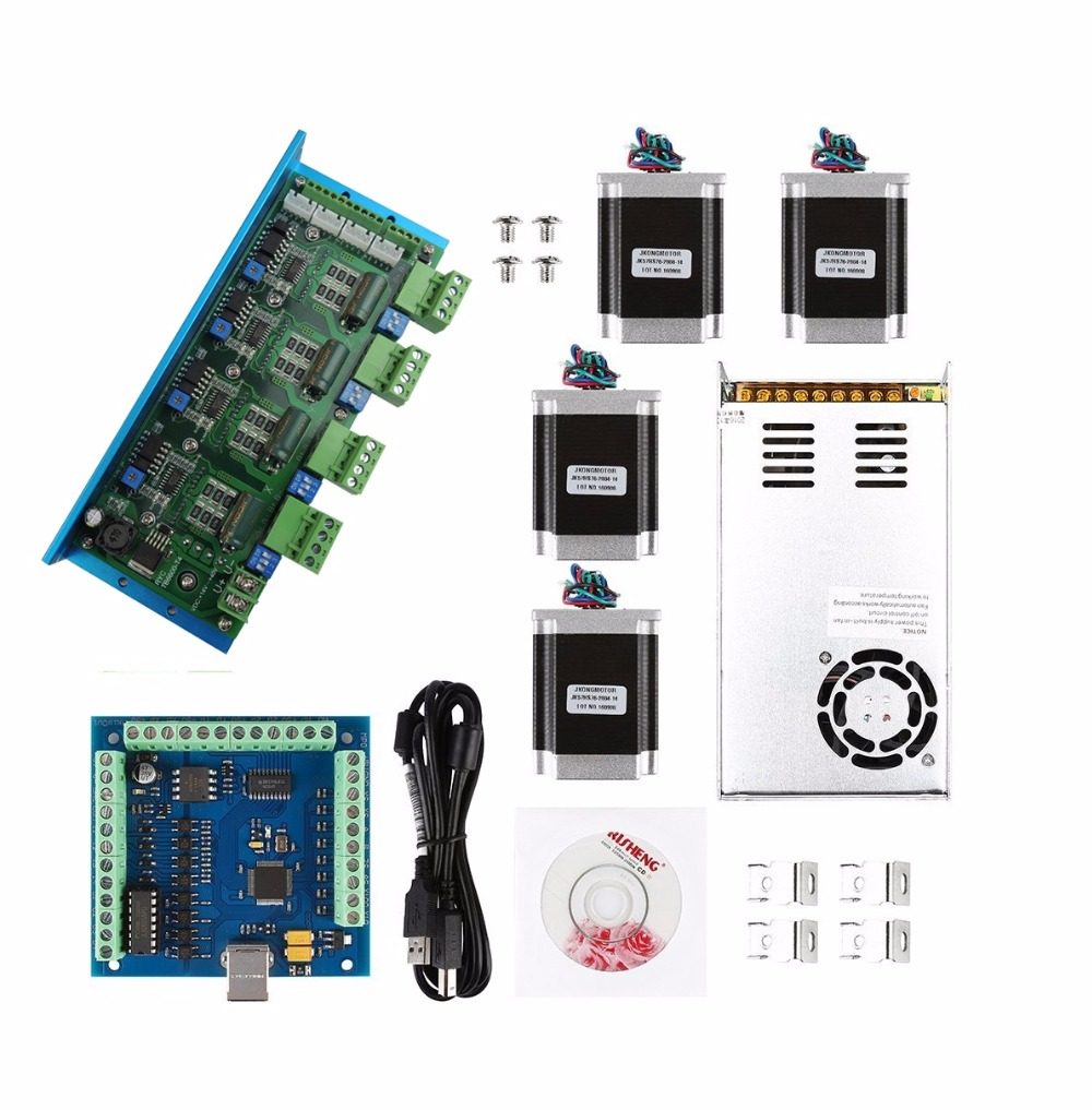 mach3 CNC USB 4 Axis Kit,TB6600 4 Axis stepper motor driver+USB controller card 100KHz + 4pcs nema23 270oz-in motor+power supply цена
