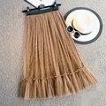 Exquisite Ruffles Tulle Skirt Elastic Waistline A Line Tee Length Midi Skirt Spring Style Skirts Women Free Size