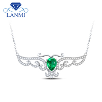 Luxury Pear Cut Natural Diamond Emerald Pendant Solid 14Kt White Gold Loving Necklace Gemstome Jewelry for Women