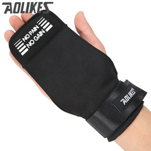 Aolikes Weightlifting Gym Wrist Hand Grips Microfiber/Cowhide Crossfit Training Gloves Fitness Sports Dumbbell Bodybuilding