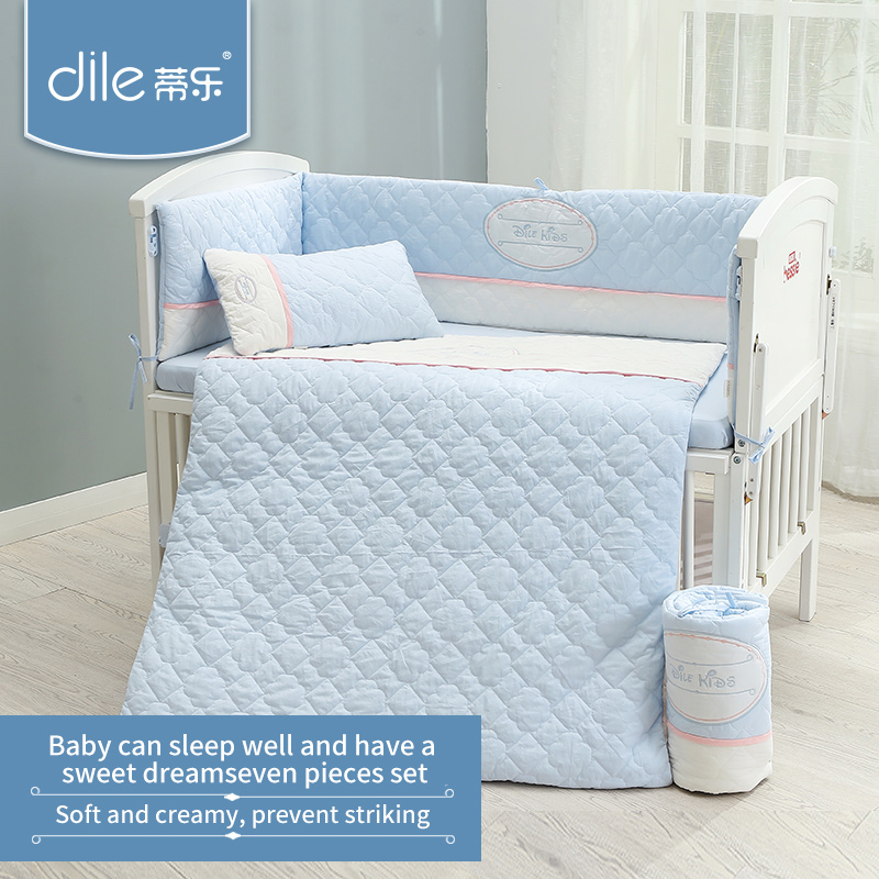 Dile baby bedding set cotton bed bumper washable sheet soft pillow warm quilt for all seasons home textile washable cotton fitted sheet 4pcs bedding set
