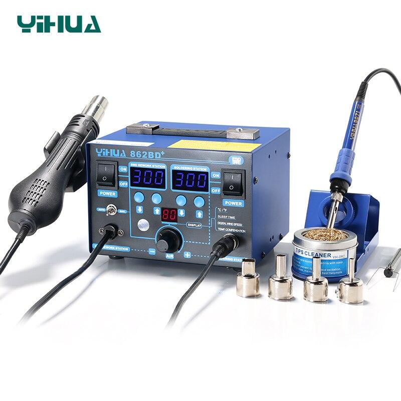Station de soudure de pistolet à Air chaud YIHUA 862BD + haute puissance avec chauffage importé utilisé pour la réparation et la soudure de téléphone