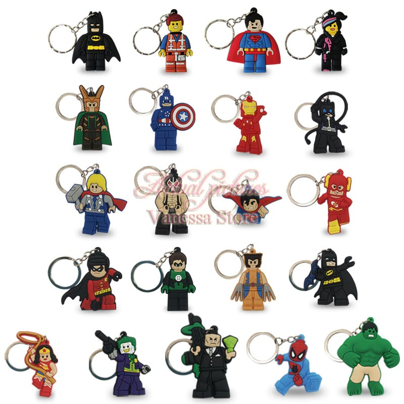 100pcs Cartoon Figure Marvel Super Hero Key Chain PVC Anime Batman Key Ring Kids Toy Pendant