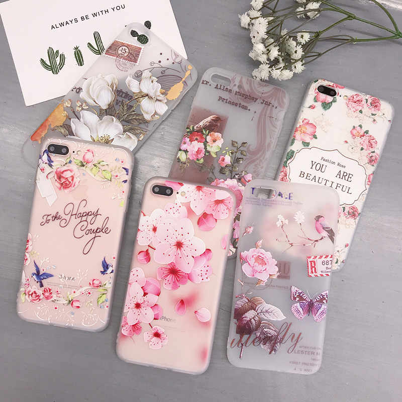 Flower Case for iPhone 6 6S  Rose Floral Cute Soft For Fundas iPhone 6 6S 7 7 Plus 8 Plus X XS Max XR Soft TPU Cover Coque