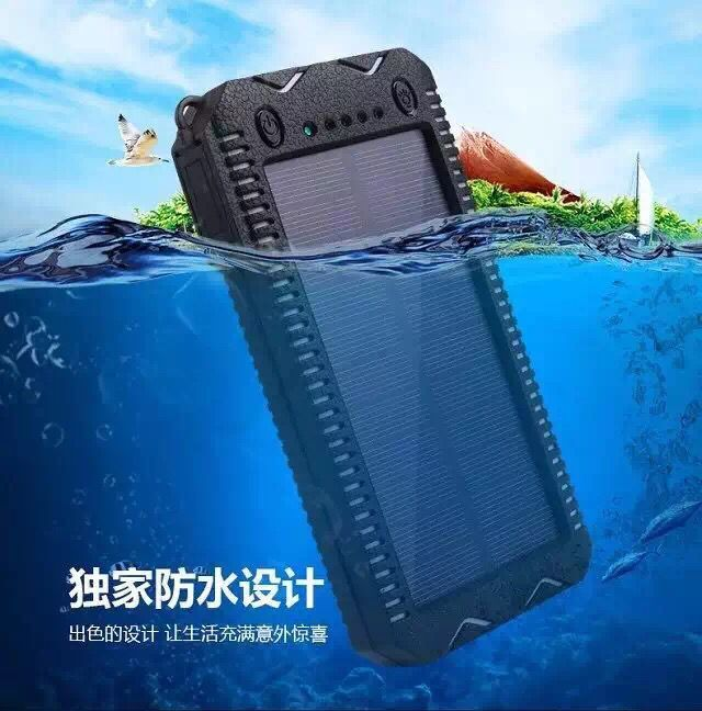2017 solar power bank waterproof 20000mah solar charger 2. Black Bedroom Furniture Sets. Home Design Ideas