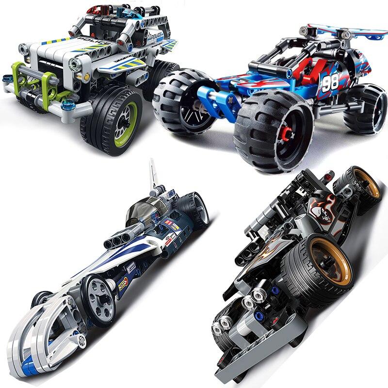 Upgraded Compatible Legoed Technic Trucks Pull Back Racer Car Moto Sets Kit Building Blocks F1 DIY
