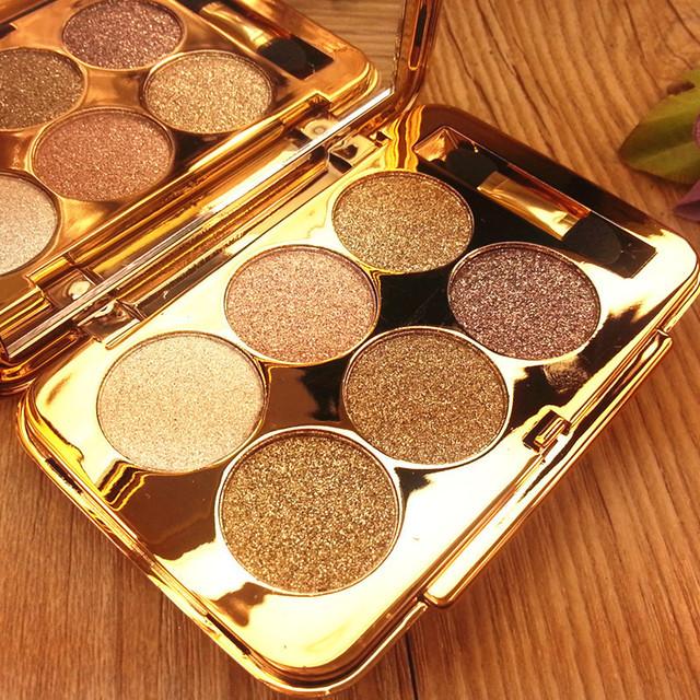 Profesional 6 Color Brillante Sombra de Ojos Conjunto Cosméticos Maquillaje Resistente Al Agua Duradero de Diamante de Color Nacarado Paleta de Maquillaje
