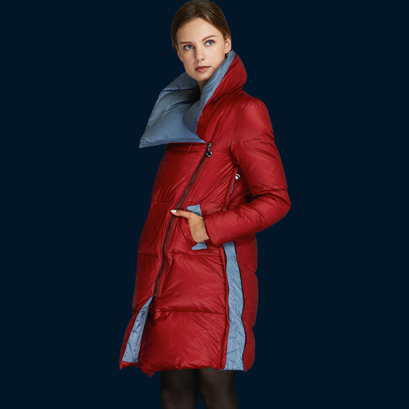 YNZZU New Winter Arrival Women   Down     Coat   Elegant Turn-  down   Collar Warm Jacket New Fashion Brand High Quality Thick Outwear O026