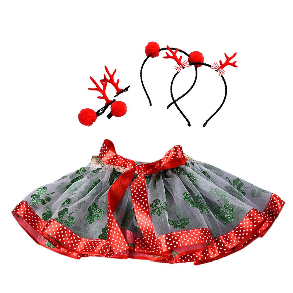 Hair Hoop Outfit Baby Girls Christmas Tutu Ballet Skirts Kids Party Skirt