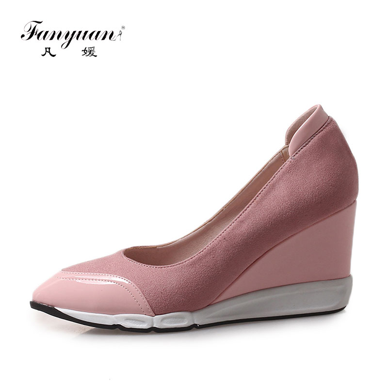 Fanyuan Fashion Leisure Slip on Wedges Pumps Pointed Toe Women Shoes Sweet Solid Shallow Dress Shoes