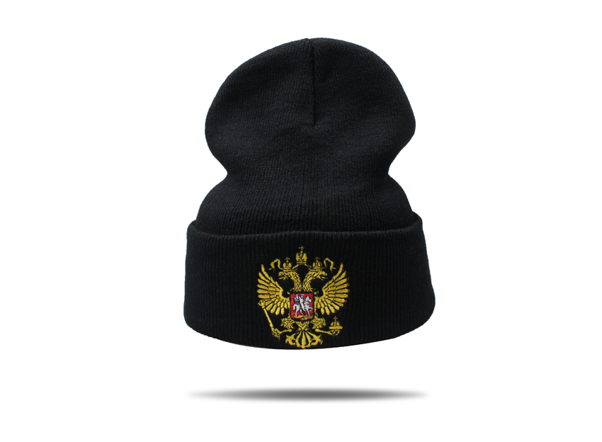 Winter Hat Brand Russian National Emblem Knitted Beanie Hats For Men ... 60f2eb47b3e