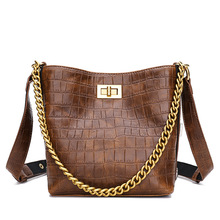 Luxury Brand Small Women Leather Bucket Bag 2019 Mini Shoulder Bags Women Crocodile Crossbody Messenger Bags Ladies Tote Handbag