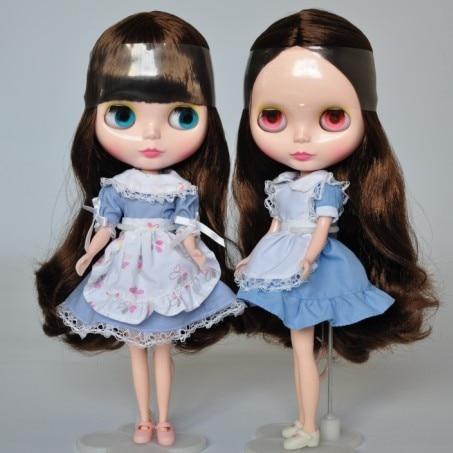 Blyth Nude Doll 1/6 Brown Long Wavy Hair With Bang Normal