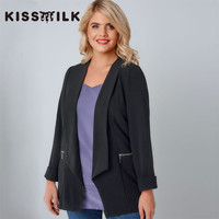 KISSMILK Plus Size Spring Western Style Fashion Solid Color Zip No Button Long Sleeve Large Size