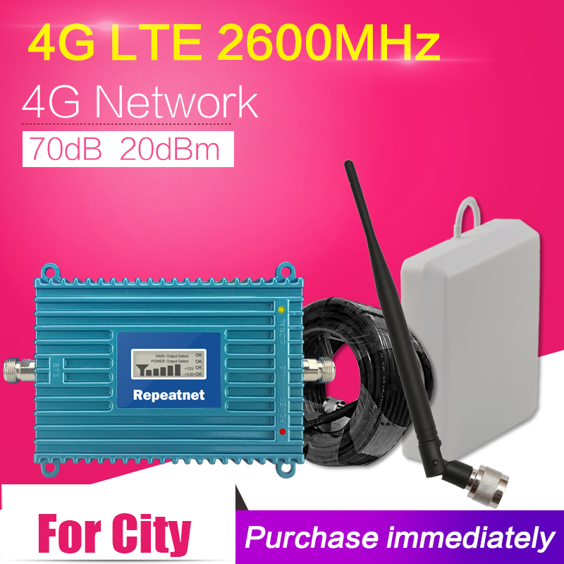 Display LCD 70dB 4g LTE 2600 mhz Amplificador de Sinal de Telefone Móvel Ganho 4g Internet Telefone Celular Impulsionador Celular repetidor + 4g Antena