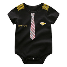 YiErYing Newborn Clothing 2019 New Baby Boy bodysuits Handsome Gentleman Style Cotton Short Sleeve Infant Pajamas Kid