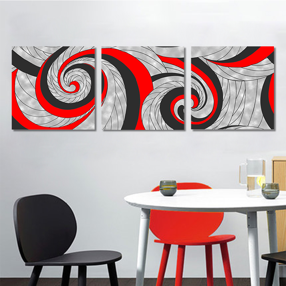 Unframed 3 Abstract Canvas Painting Spiral Cloth Pattern Wall Art Decor Prints Wall Pictures For Living Room Wall Art Decoration