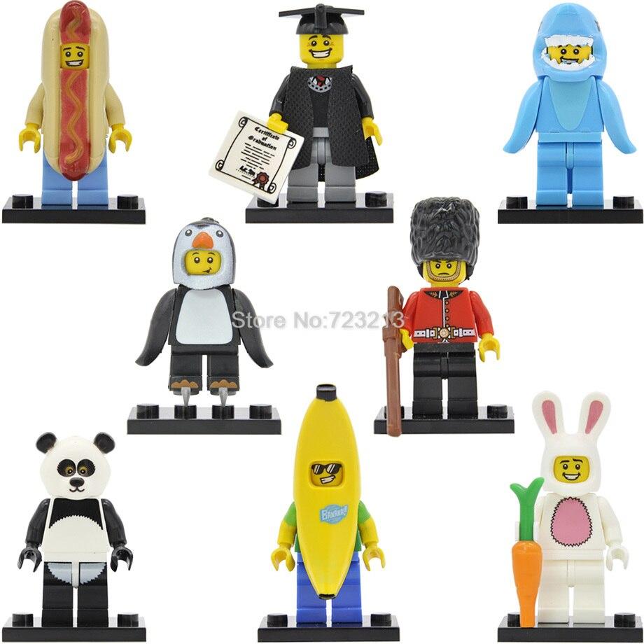 8pcs/lot Shark Suit Guy Graduate Banana/Sausage/Panda/Penguin/Rabbit Man British Guard Figure Building Blocks Sets 71011 Toys пинетки митенки blue penguin puku