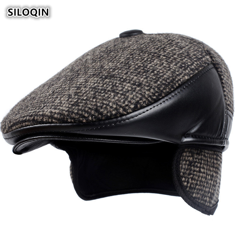 SILOQIN  Autumn Winter New Style Trend Middle-aged Elderly Thicken Keep Warm Earmuffs Berets  Simple Sports Tongue Cap Dad