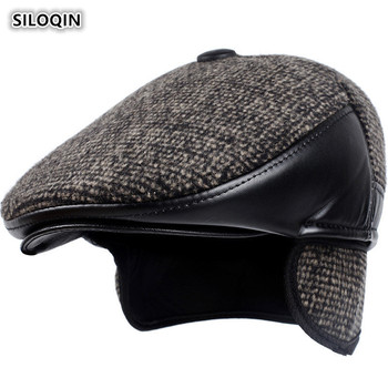 SILOQIN  Autumn Winter New Style Trend Middle-aged Elderly Thicken Keep Warm Earmuffs Berets  Simple Sports Tongue Cap Dads Hat siloqin elegant women s 100